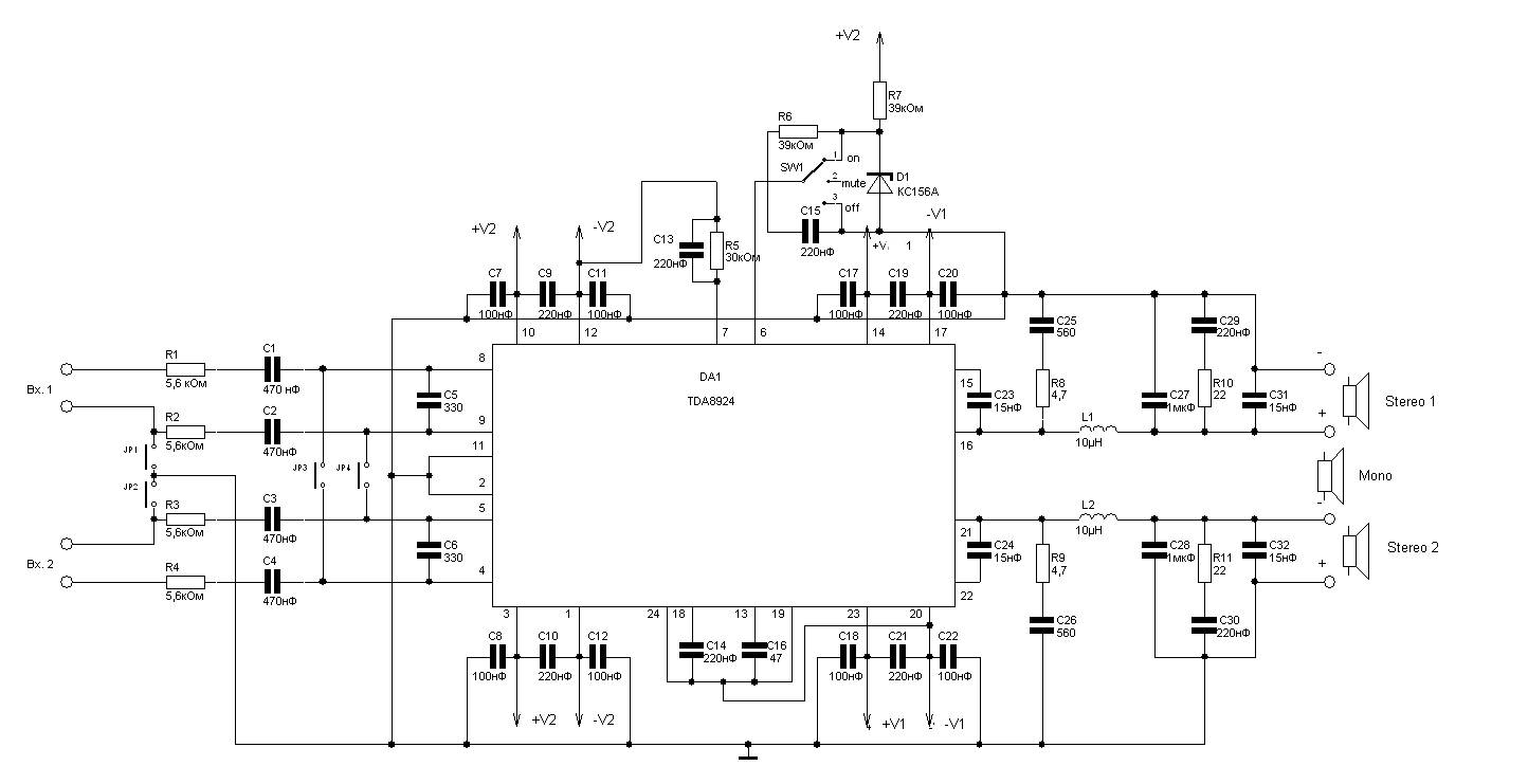 240w Class D Audio Amplifier Based Tda8924 Circuit Design