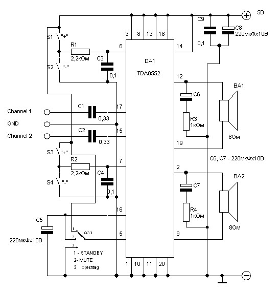 amplifier circuit based tda8552 stereo