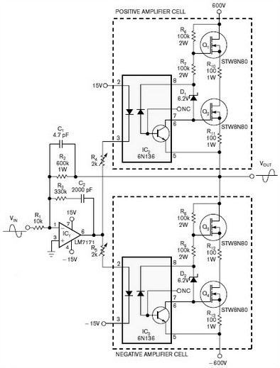 inverting amplifier uses two class ab amplification