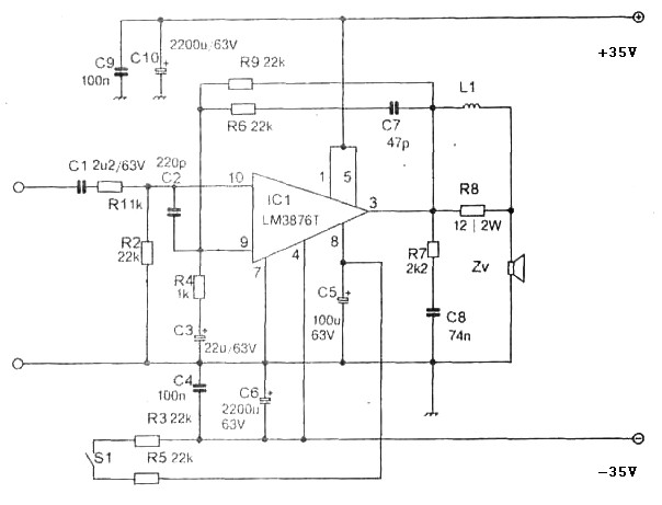 105w Simple Power Amplifier