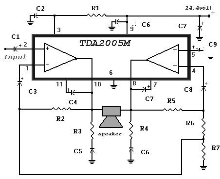 20 Watt Power Amplifier based TDA2005 - Amplifier Circuit ...