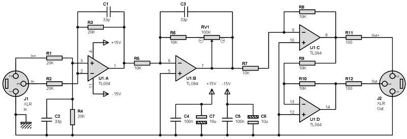 Balanced Input/Output Pre-amplifier Circuit - Amplifier