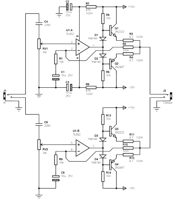 100mw stereo amplifier circuit based tl082 designed to