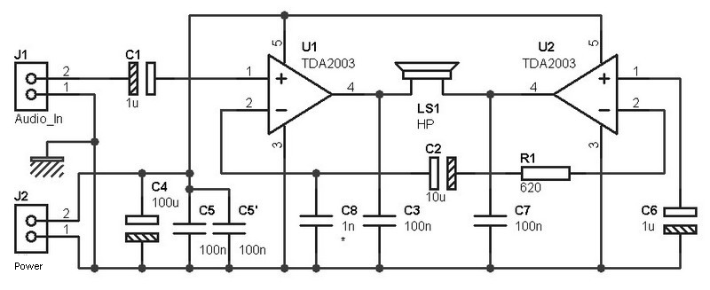 Tda2003 Amplifier Bridge Circuit Schematic - Wiring Diagram Go