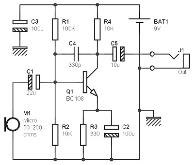 mono preamp mic based bc108 transistor amplifier circuit design rh amplifiercircuit net DC Motor Schematic Diagram Inverter Schematic Diagram