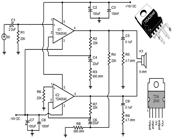 tda2040 car stereo amplifier circuit diagram