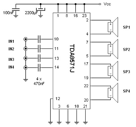 40W 4 channel audio amplifier