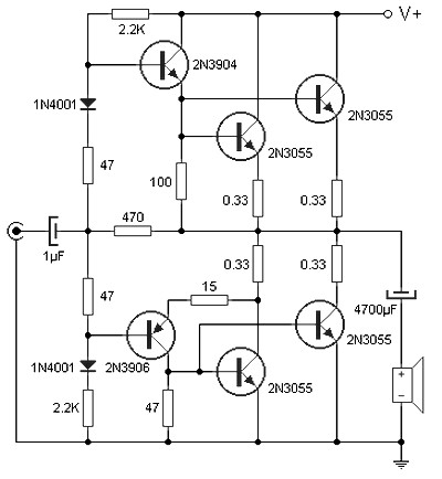 90 w audio power amplifier based on transistor amplifier circuit