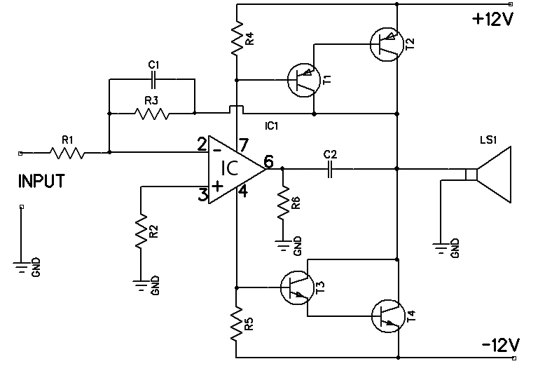 12W amplifier circuit based 741 Op Amp - Amplifier Circuit Design
