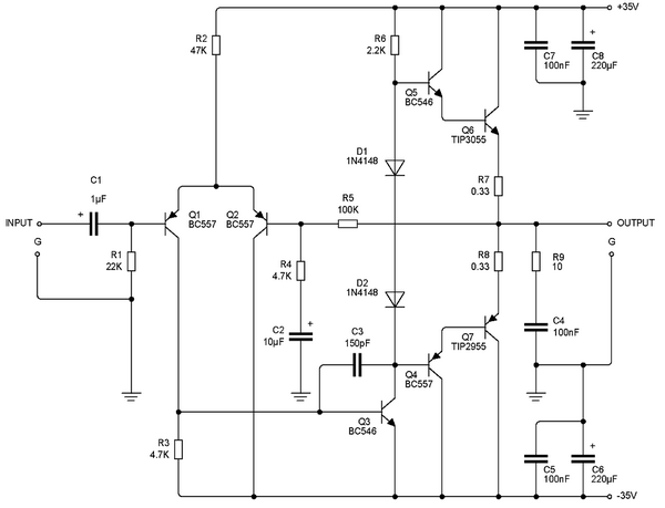 75w power amplifier circuit
