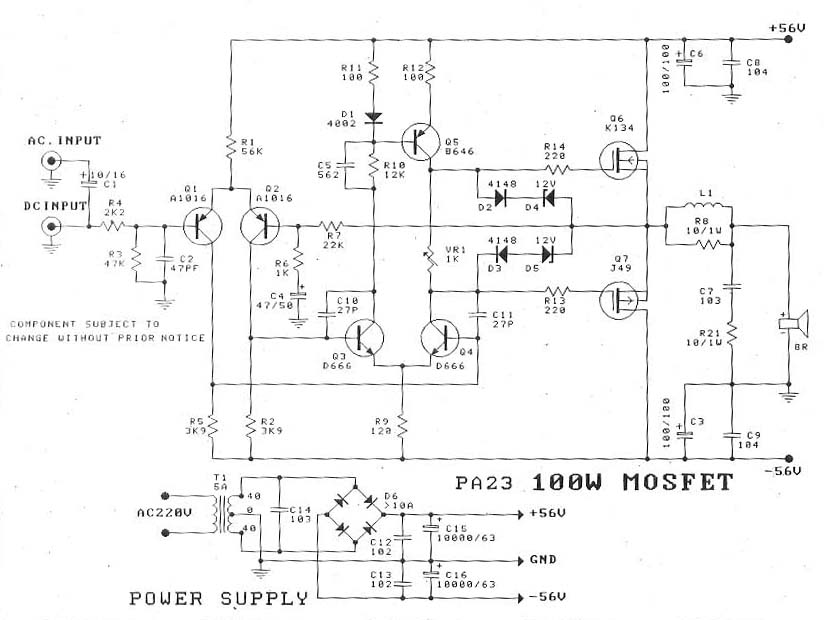 100w mosfet amplifier diagram