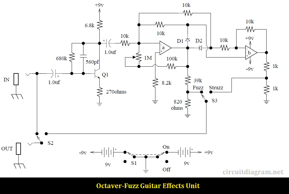 Octaver-Fuzz Guitar Effects circuit diagram