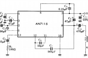 mini audio amplifier AN7115 circuit
