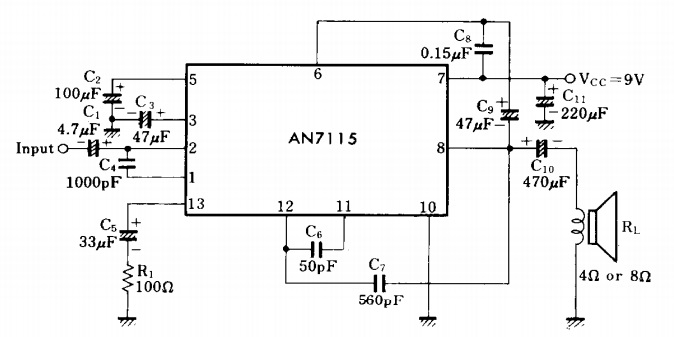 mini audio amplifier using ic an7115