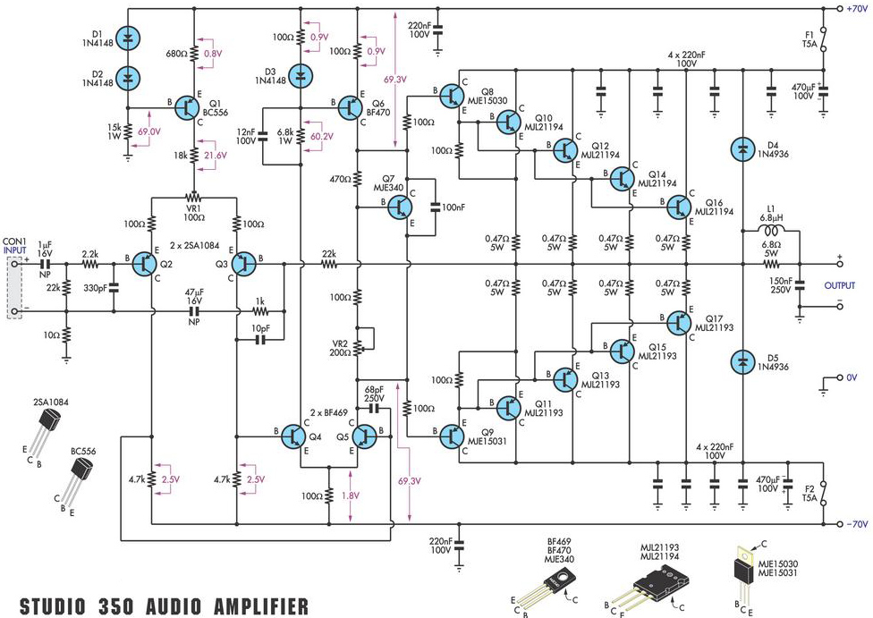 350 studio amplifier circuit scheme and pcb layout