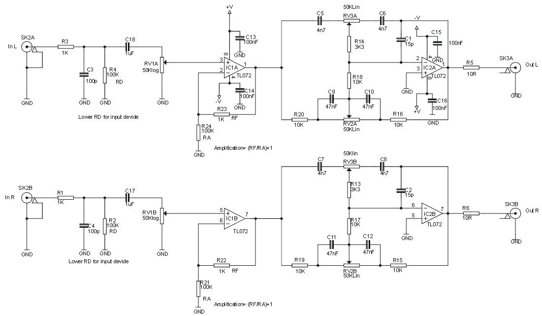 Stereo Pre-amp with Volume and Tone Control - Amplifier Circuit Design