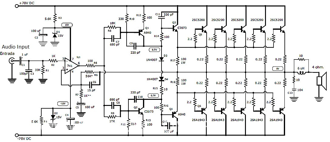 on 50 watts transistor amplifier