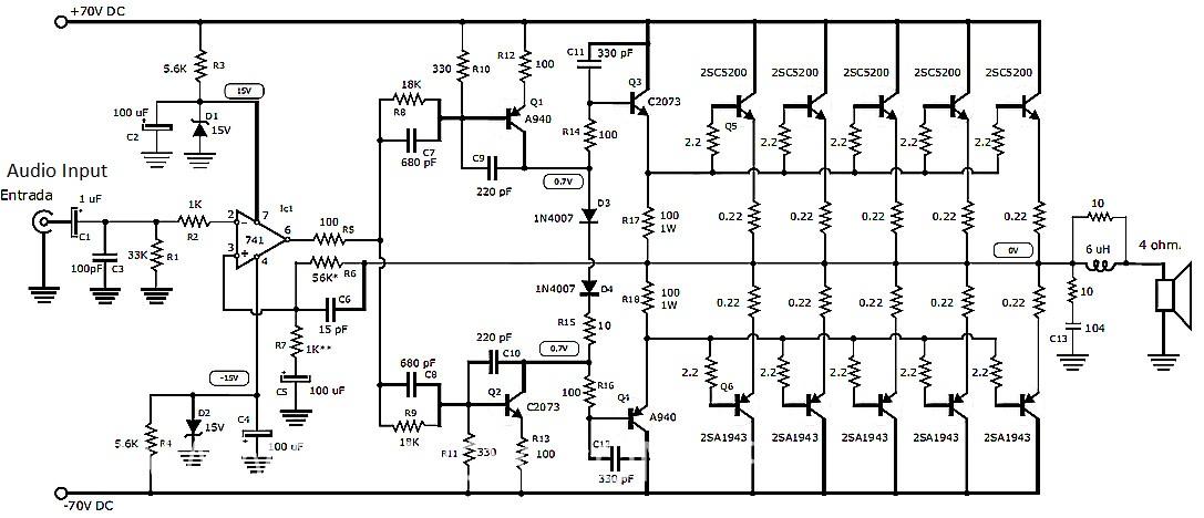 1000 Watt Audio Amplifier with Transistors 2SC5200 and 2SA1943 | 1000w Amplifier Circuit Using Transistor |  | Amplifier Circuit Design