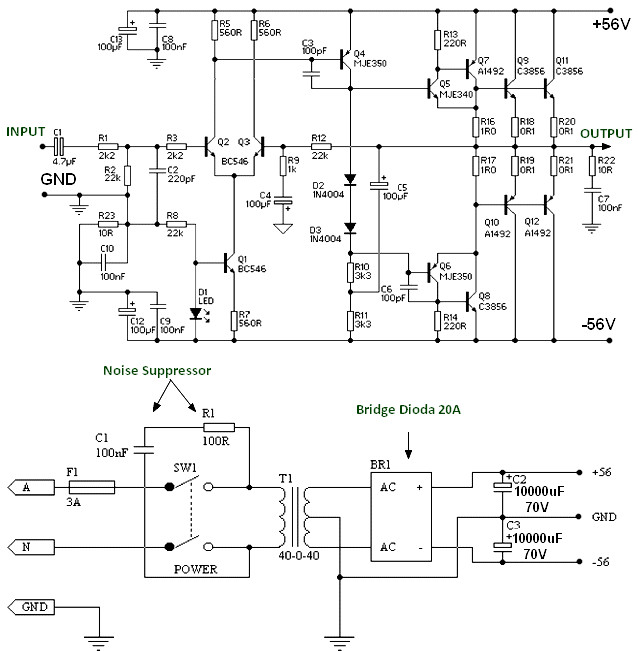 150w Power Amplifier Schematic Diagram Amplifier Circuit